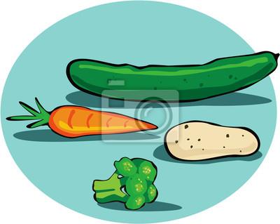Огурцы, морковь, картофель и брокколи