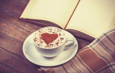 Картина Чашка кофе и книги с шарфом