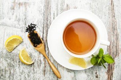 Картина Чашка чая с лимоном и мятой