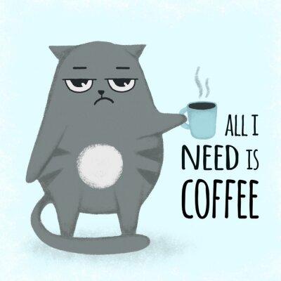 Картина Милый синий мультфильм рисованной кот с чашкой кофе. Кошка держит чашку.