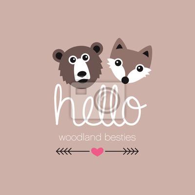 Симпатичные медведь гризли и леса дизайн лиса иллюстрация открытку