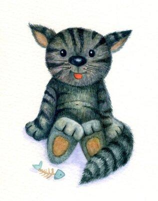 Картина Милый котенок, акварель.
