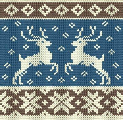 Картина Симпатичные вязание фон с двумя оленями и снежинками