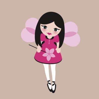 Симпатичная девочка-эльф-фея с волшебной палочкой и крыльями для фэнтези-принцессы
