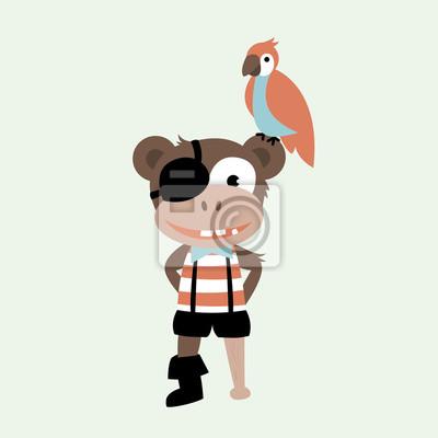 Симпатичный маленький пиратский капитан обезьяны с деревянной ногой и птицей попугая