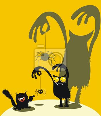 Симпатичные монстр, паук и белка