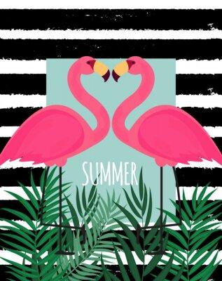 Картина Симпатичные Розовый Фламинго Летний фон векторной иллюстрации