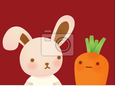 Милый кролик и морковь - векторный файл EPS10