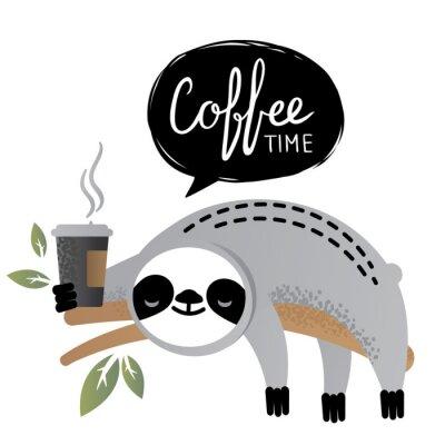 Картина Симпатичные вектор ленивец медведь животное с кофе время надписи.