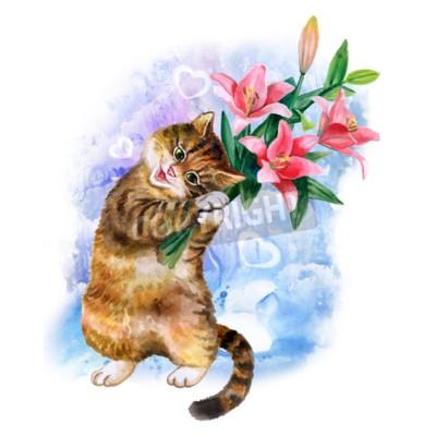 Картина Симпатичные акварель открытка с кошкой и цветами, изолированных на синем фоне с сердцем. Прекрасный котенок с лилиями. Идеально подходит для день Валентин, день рождения, свадебные приглашения плаката