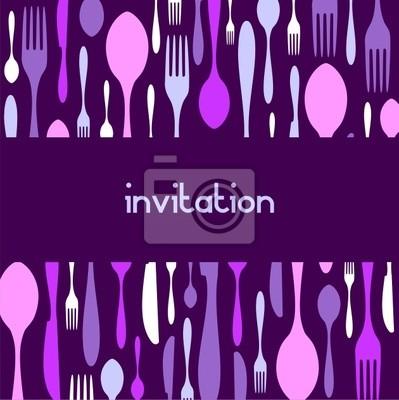 Столовые приборы узор приглашение. Фиолетовый фон