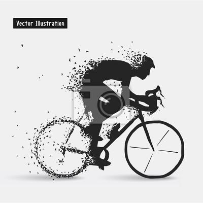 Велосипедисты. Вектор eps10 illusration. Частица расходящимся композиция