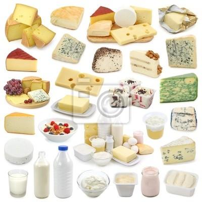 Молочные продукты коллекции, изолированных на белом фоне