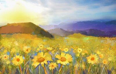Картина Дейзи цветок blossom.Oil картина сельской закат
