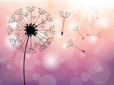 Картина Одуванчик на ветру, векторный фон