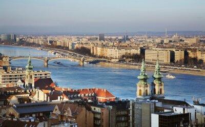 Картина река Дунай в Будапеште. Венгрия