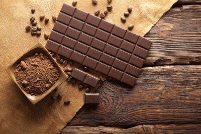 Картина Темный шоколад, какао и кофе зерна