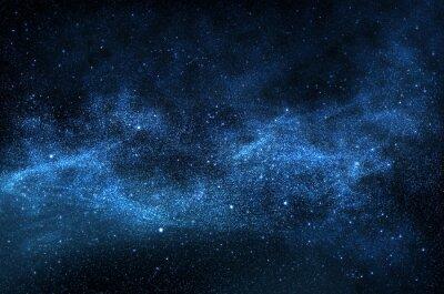 Картина Темная ночь небо с блестящими звездами и планетами, иллюстрации