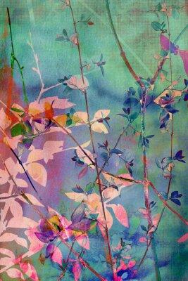 Картина Декоративный фон гранж с природными листьев