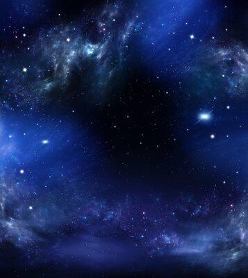 Картина глубокий космос, абстрактный синий фон