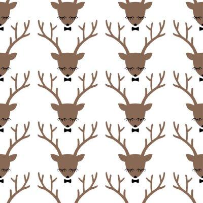 Картина Олень силуэт головы бесшовные модели. Голова животного текстуры. Симпатичные спальные олень с бантом фон для зимних праздников.