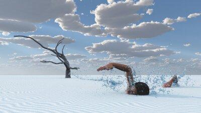 Картина Песков пустыни пловец