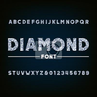 Алмазный шрифт алфавит. Блестящие буквы и цифры. Векторный типографика для вашего дизайна.
