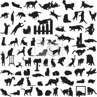 другой набор силуэтов кошек