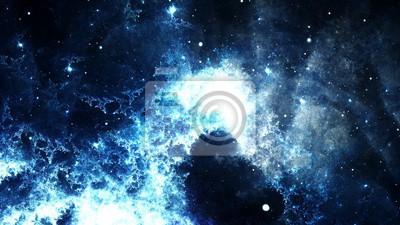 Картина Цифровой аннотация яркие и красочные туманности галактики и звезды