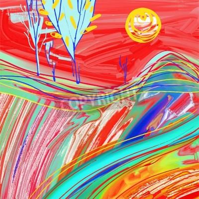 Картина Цифровая живопись красный закат пейзаж, творческие произведения искусства вдохновение, современный импрессионизм, векторные иллюстрации