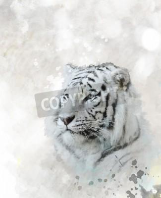 Картина Цифровая живопись White Tiger Head