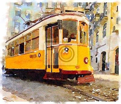 Картина Цифровая акварельная живопись традиционного старинного желтого трамвая в Лиссабоне, Португалия, катание по живописным улочкам. Перевозка через Лиссабон.