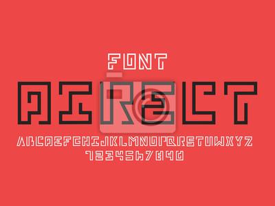 Direct font. Vector alphabet