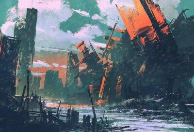 Картина катастрофы город, апокалиптический пейзаж, иллюстрации картины
