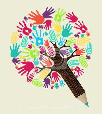 Разнообразие рука концепция карандаш дерево