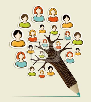 Люди разнообразия концепция карандаш дерево