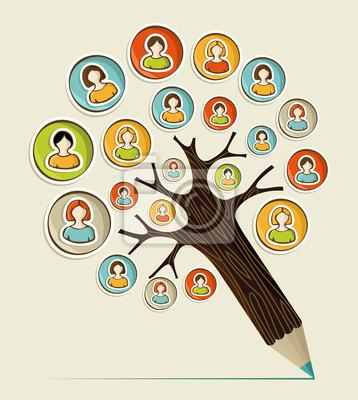 Разнообразие социальные люди карандаш дерево