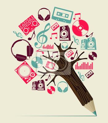 Dj музыка концепции карандаш дерево