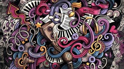 Картина Doodles Music illustration. Creative musical background