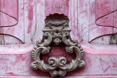 Картина Дверь knoker на старом розовом Wodden двери