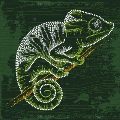 Картина Пунктирная Хамелеон сидит на ветке