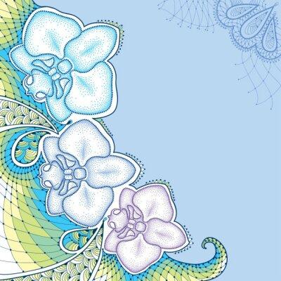 Картина Пунктирная моли Орхидея фаленопсис или с декоративным кружевом в пастельных тонах на синем фоне. Цветочные элементы в стиле dotwork.
