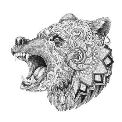 Картина Dotwork, тату, глава ярость медведя