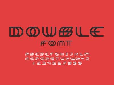 Double font. Vector alphabet letters