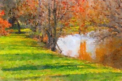 Картина Вниз по озеру