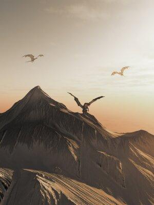 Картина Дракон пик на закате, фэнтези иллюстрации