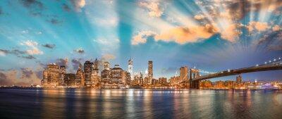 Картина Резкое небо над Бруклинский мост и Манхэттен, панорамный ночь