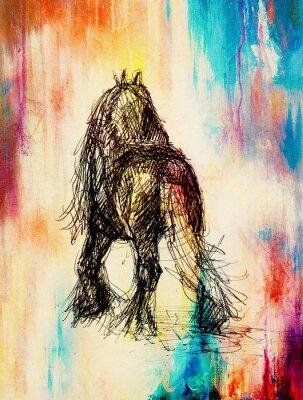 Картина Рисовать карандашом лошадь на старой бумаге, старинные бумаги и старой конструкции с цветными пятнами.