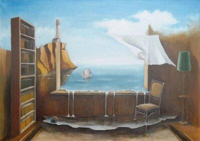 Картина Мечта Фантастический интерьер с открытым окном.