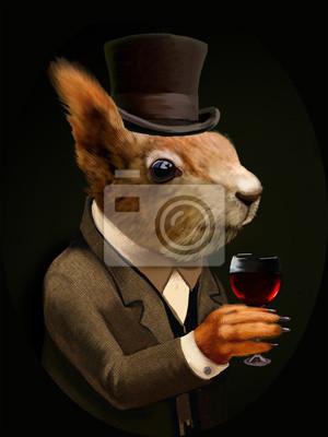 Картина Одетый Белка с бокалом вина и Top Hat
